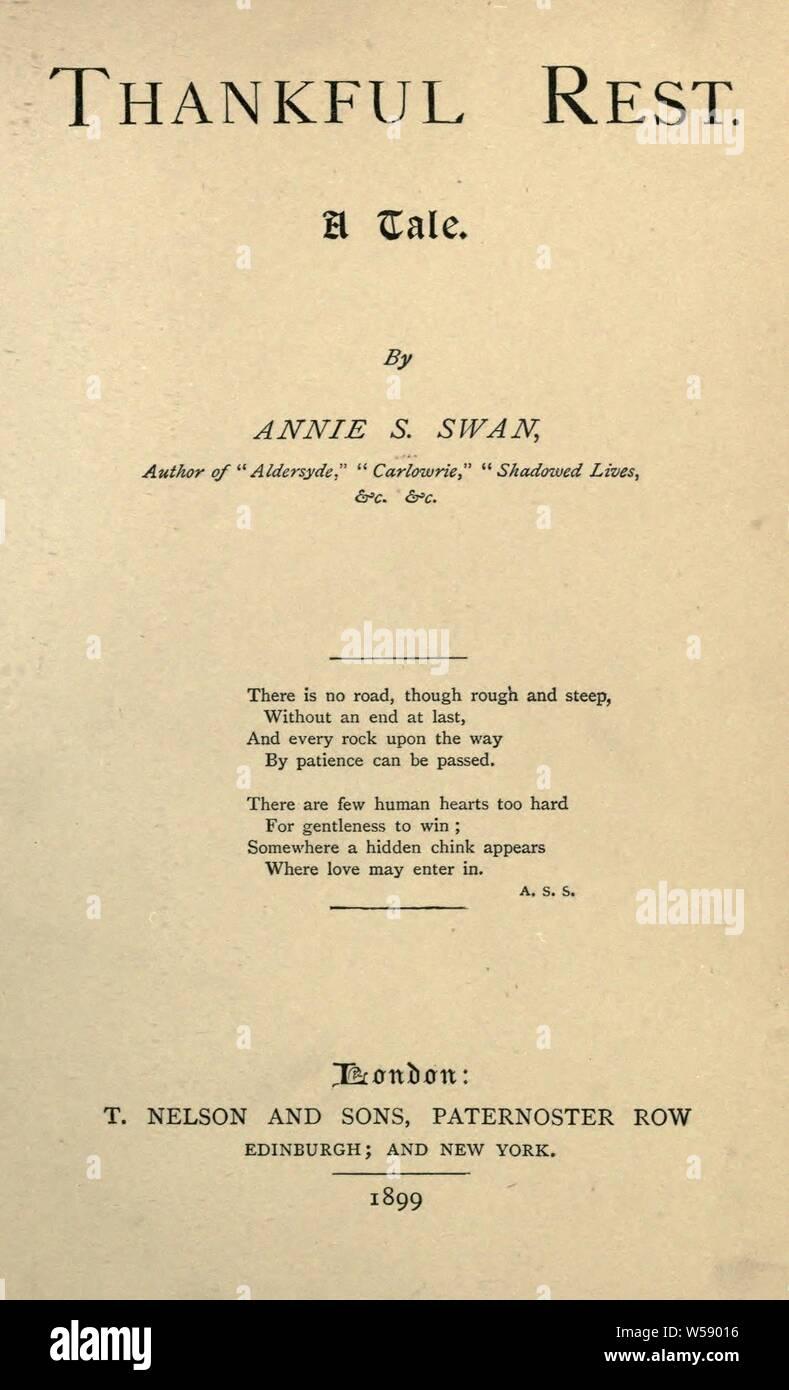 Reconnaissant reste: une histoire: Swan, Annie S., 1859-1943 Banque D'Images