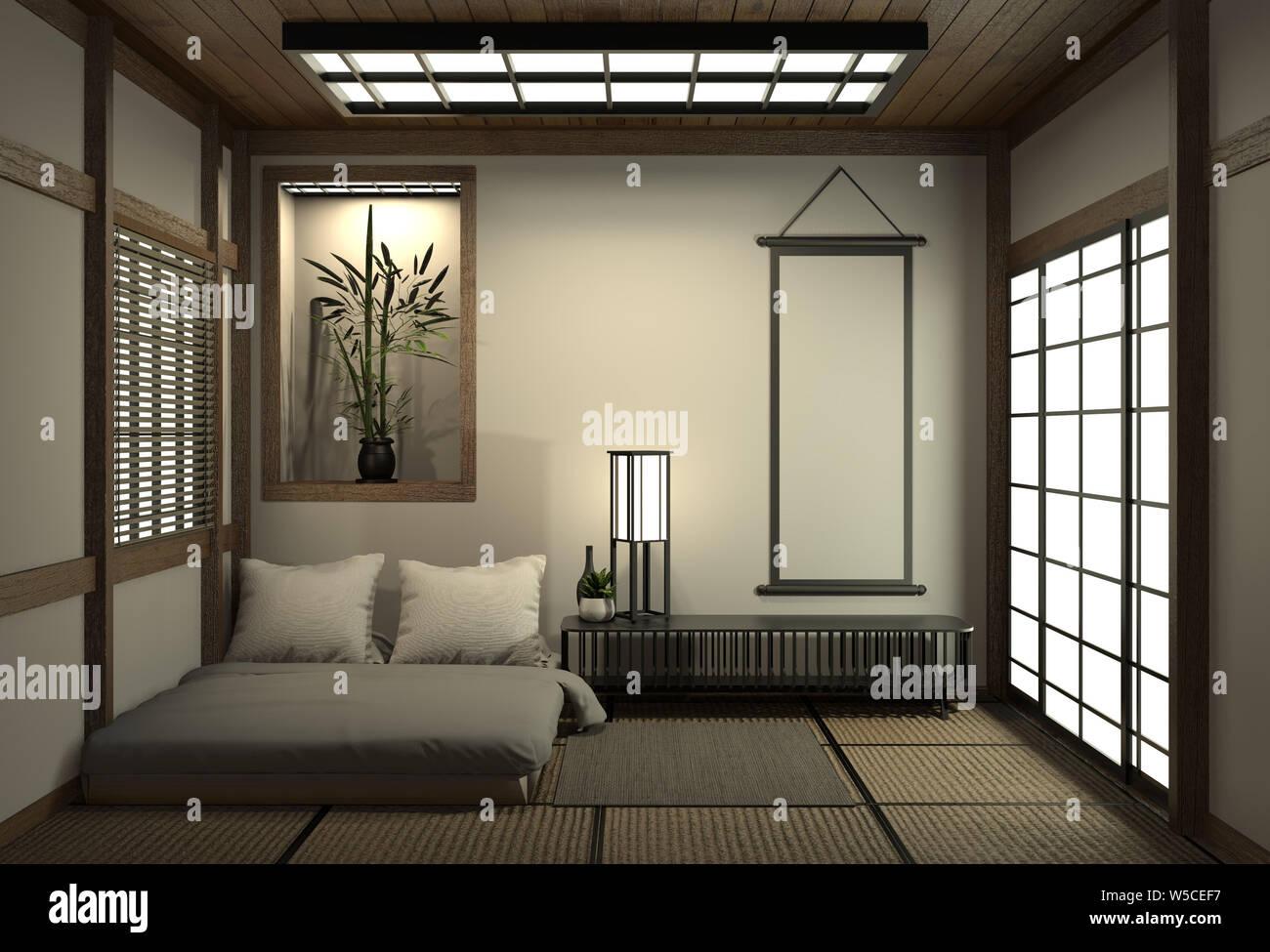 Chambre à coucher moderne de style zen pacifique. Chambre et