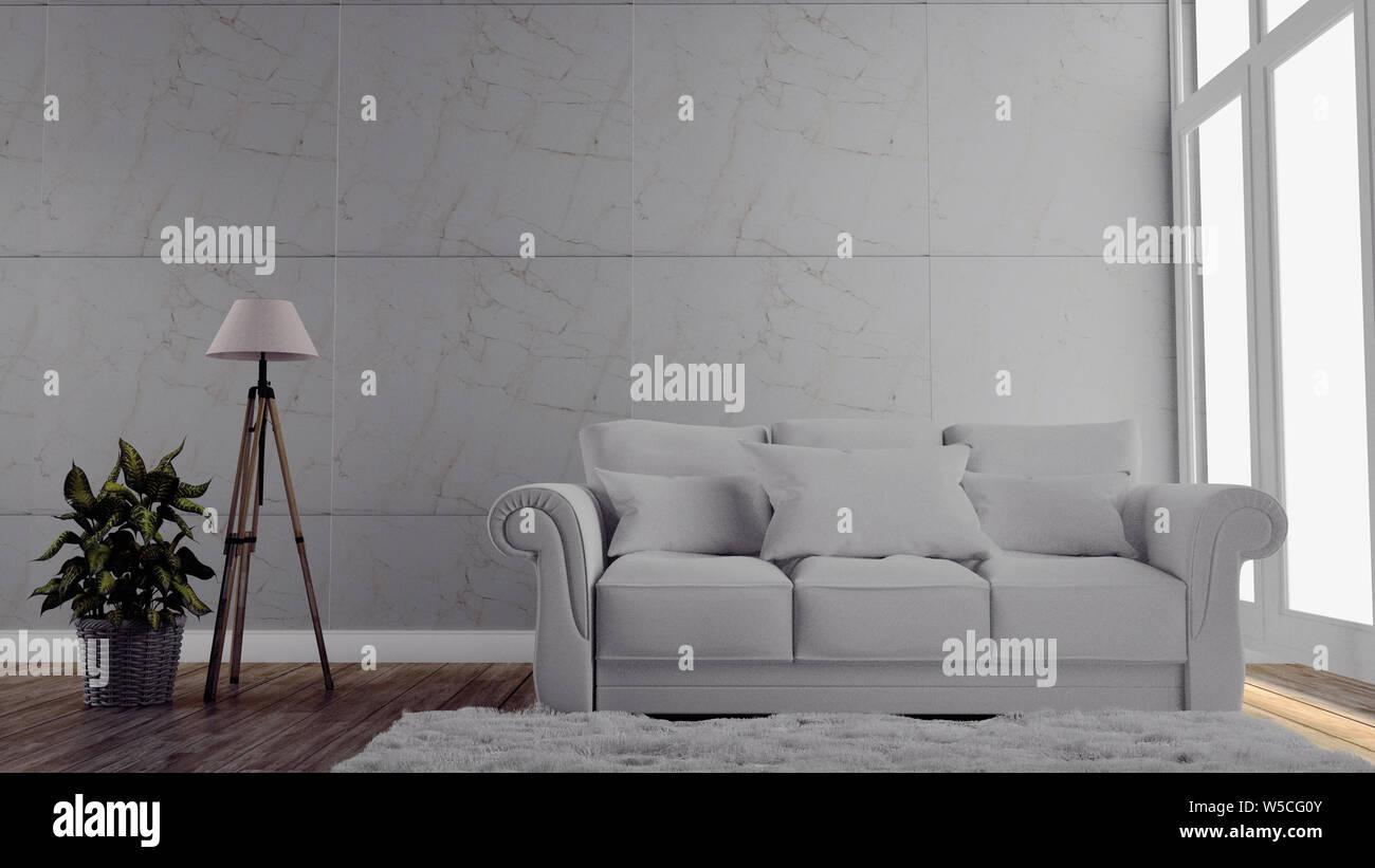 Cette chambre moderne de mur gris sur le plancher en bois. Le rendu 3D Banque D'Images