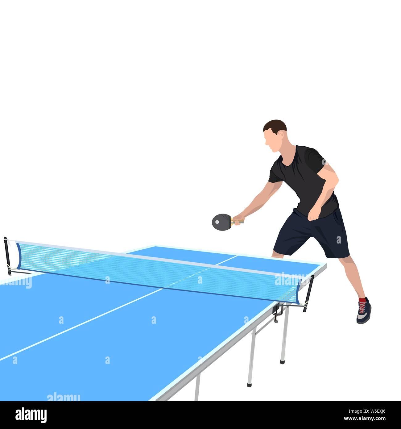 Joueur de tennis de table avec racket, ball et tableau bleu pour jeu de ping-pong, vector illustration isolé sur fond blanc. Jeune homme de la table de dix Illustration de Vecteur