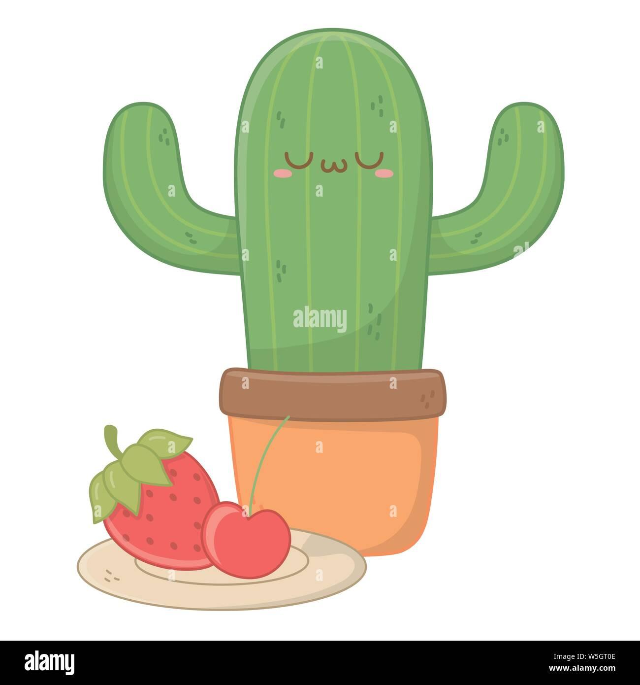 Design Dessin Animé Cactus Expression Kawaii Mignon Petit
