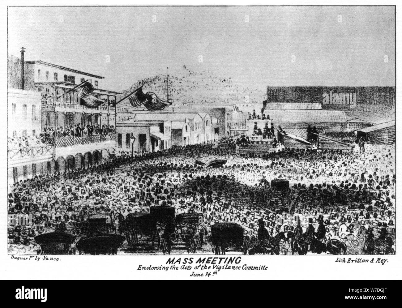 Une réunion de masse à l'extérieur de Fort Vigilant, Sacramento, Californie, 1856 (1937).Artiste: Britton & Rey Banque D'Images