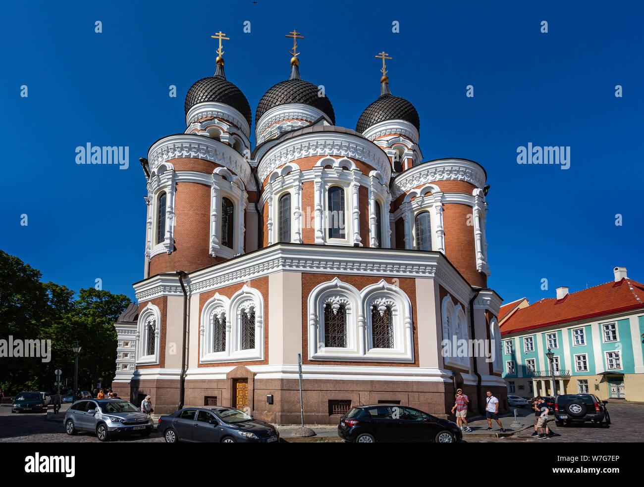 La cathédrale Alexandre Nevsky orthodoxe russe à Tallinn, Estonie le 21 juillet 2019 Banque D'Images
