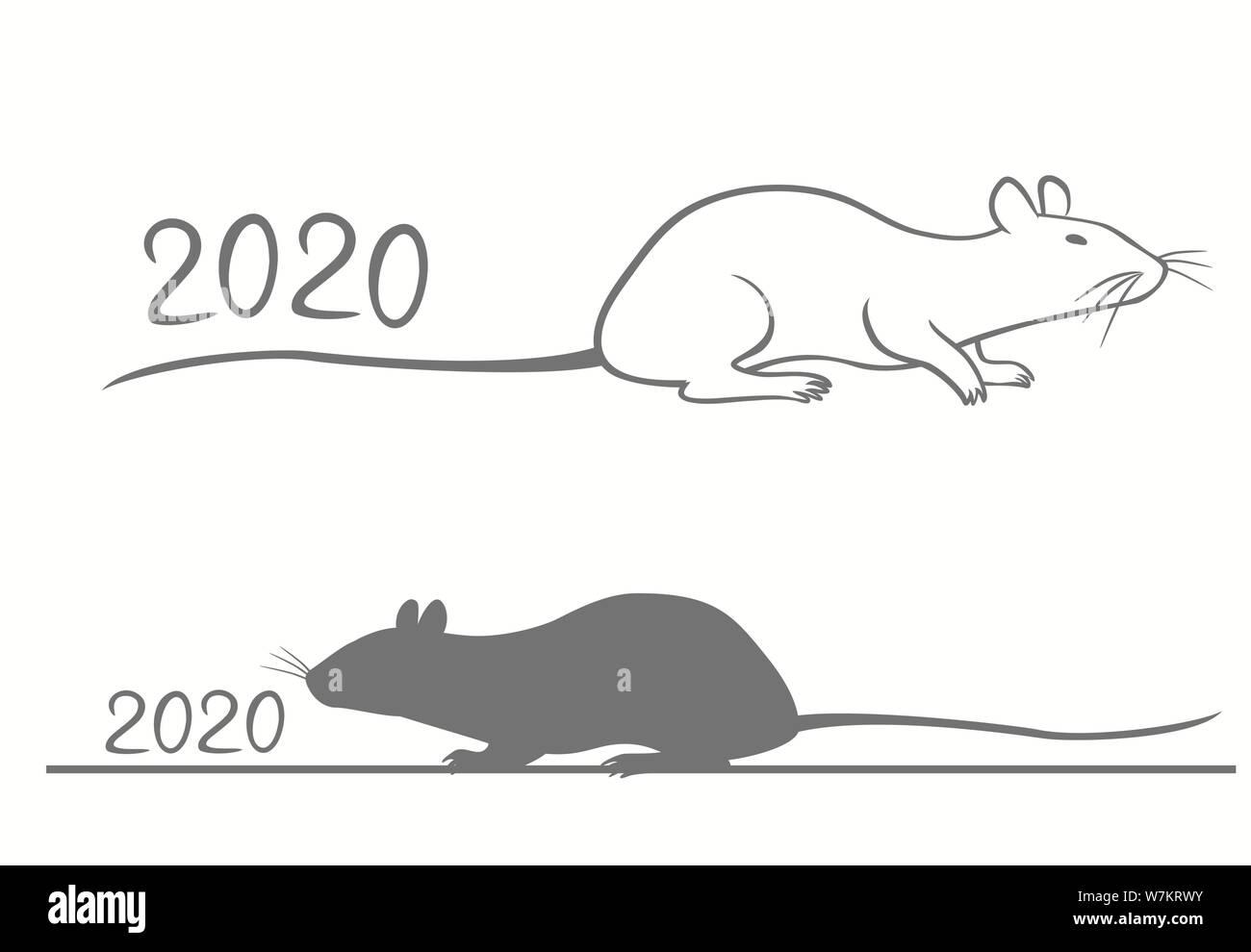Le Nouvel An chinois carte de souhaits pour 2020 ans. Illustration de Vecteur