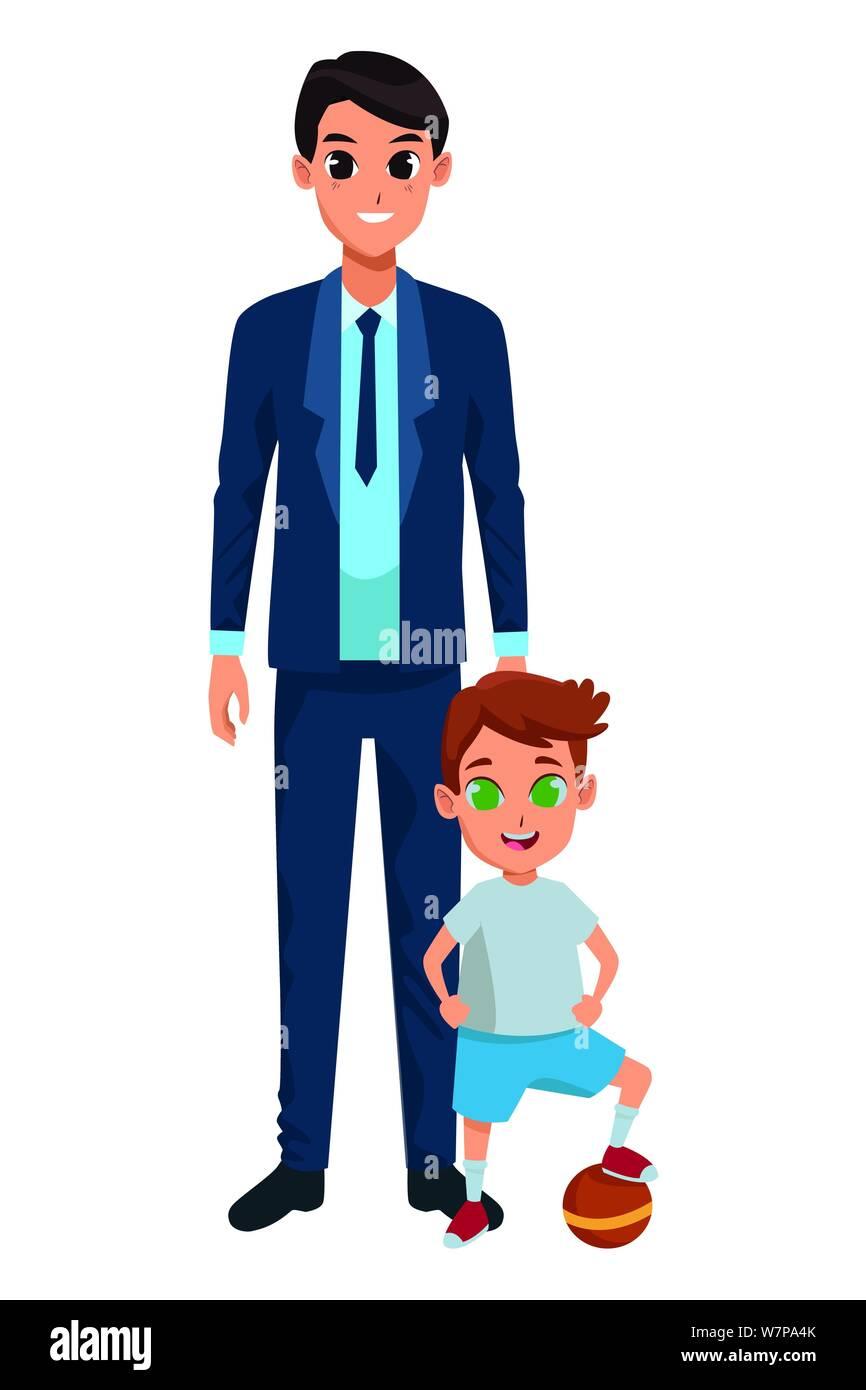 Famille père célibataire avec enfants cartoon Illustration de Vecteur