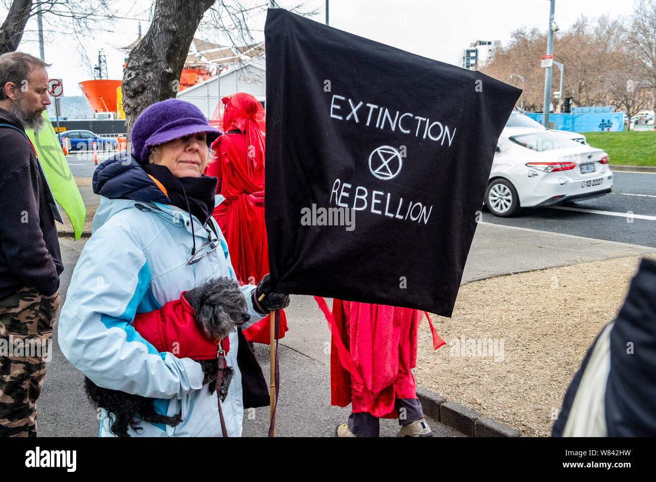 Une femme âgée avec son chien à l'extinction de rébellion protester contre le changement climatique l'inaction, à l'extérieur du Parlement de Tasmanie à Hobart, aujourd'hui (jeudi 8 août, 2019) Banque D'Images