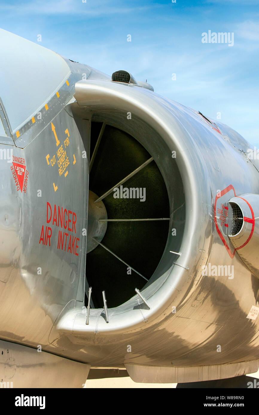 Dans l'admission d'Air Pegasus RR d'un moteur HS FGA.1 figeter Kestrel jet avion Banque D'Images
