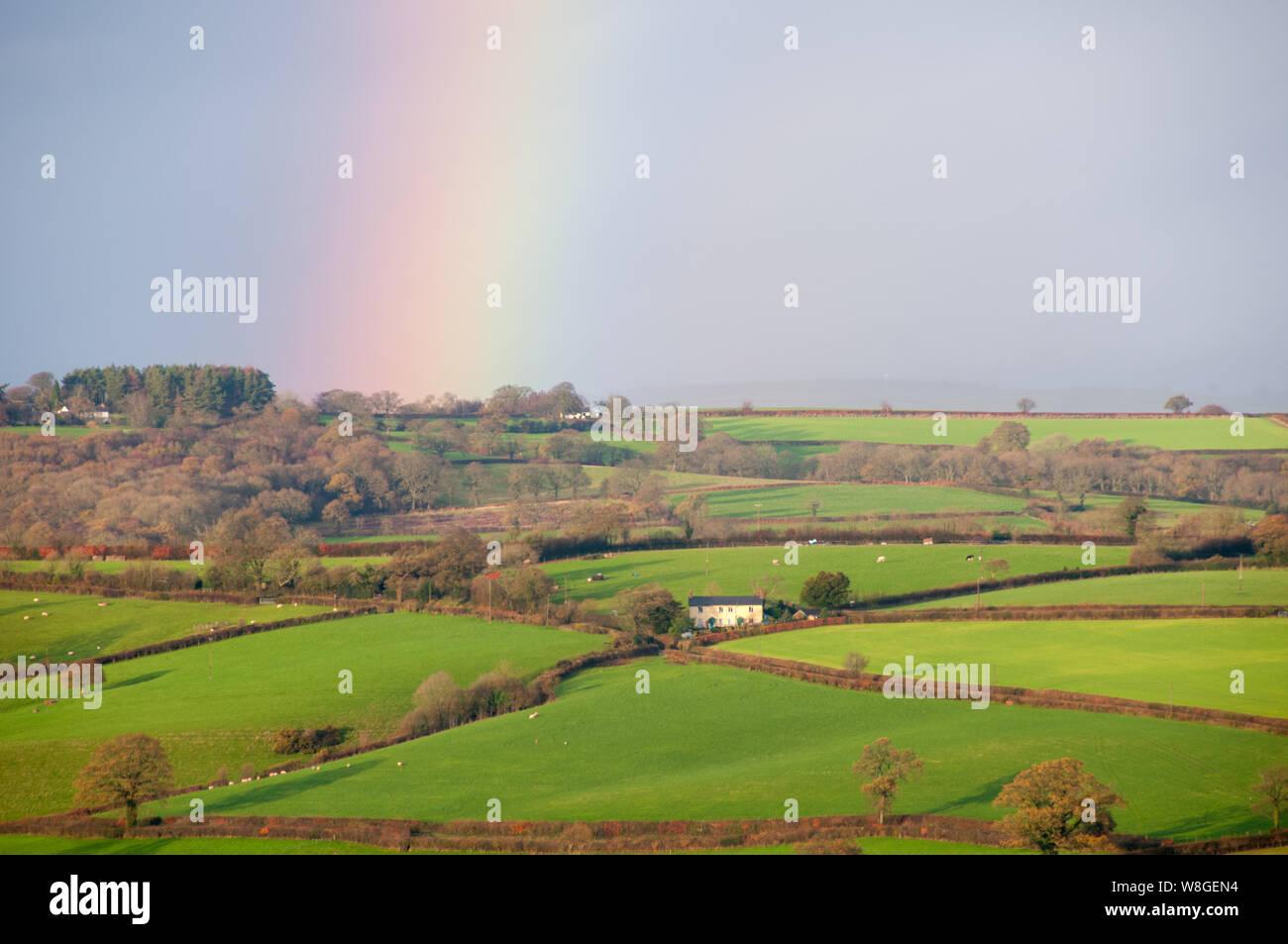 La campagne est allumé sur ce beau matin de dewey à Warwick en Angleterre. La pluie a cessé et un arc-en-ciel se remplit le ciel sous les rayons du soleil vers le bas. Banque D'Images