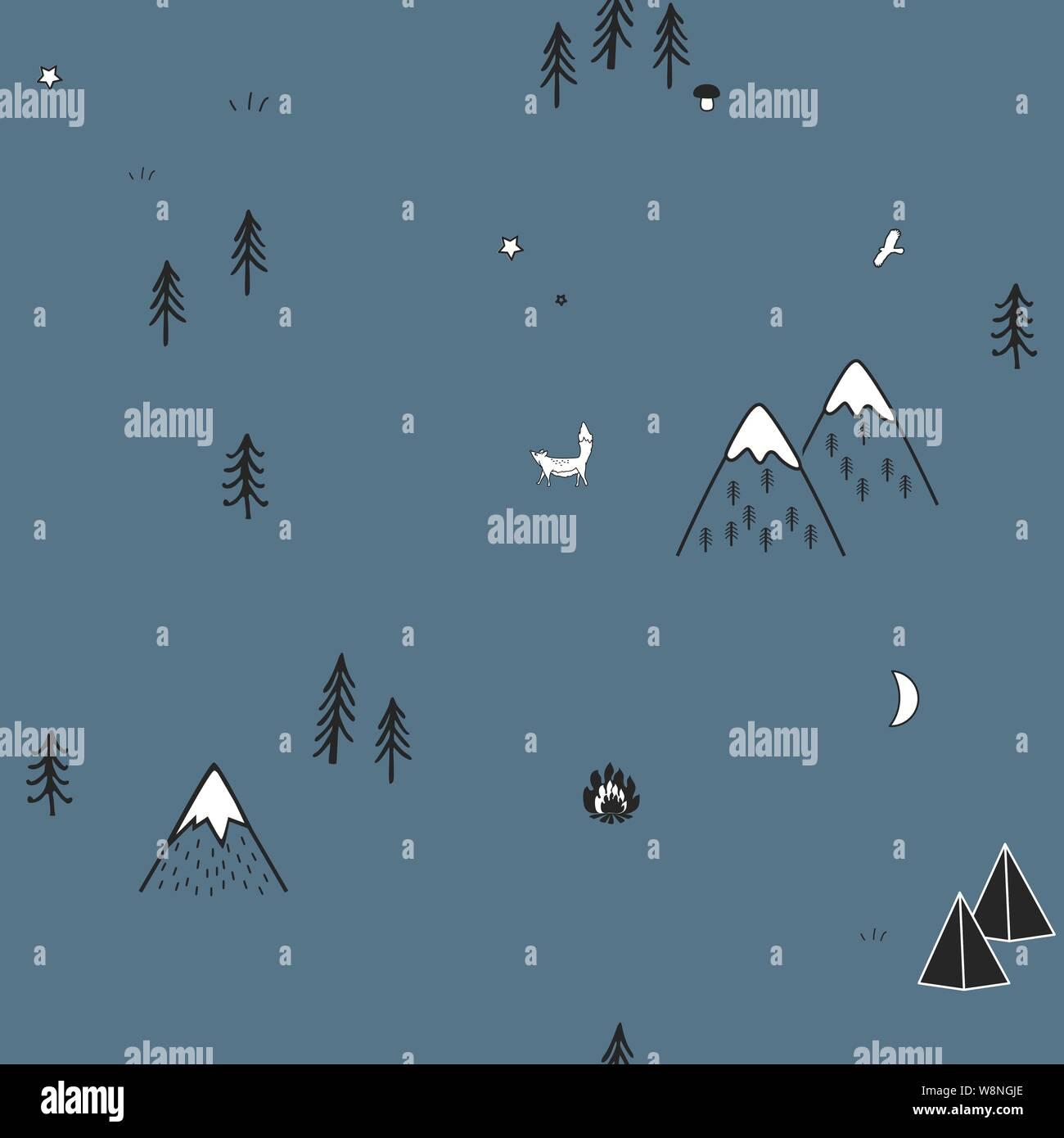 Cute hand drawn seamless pattern avec les tentes de camping, d'incendie, d'arbres et de montagnes. Fond des bois scandinaves créatifs. La forêt. Vector Illustration de Vecteur