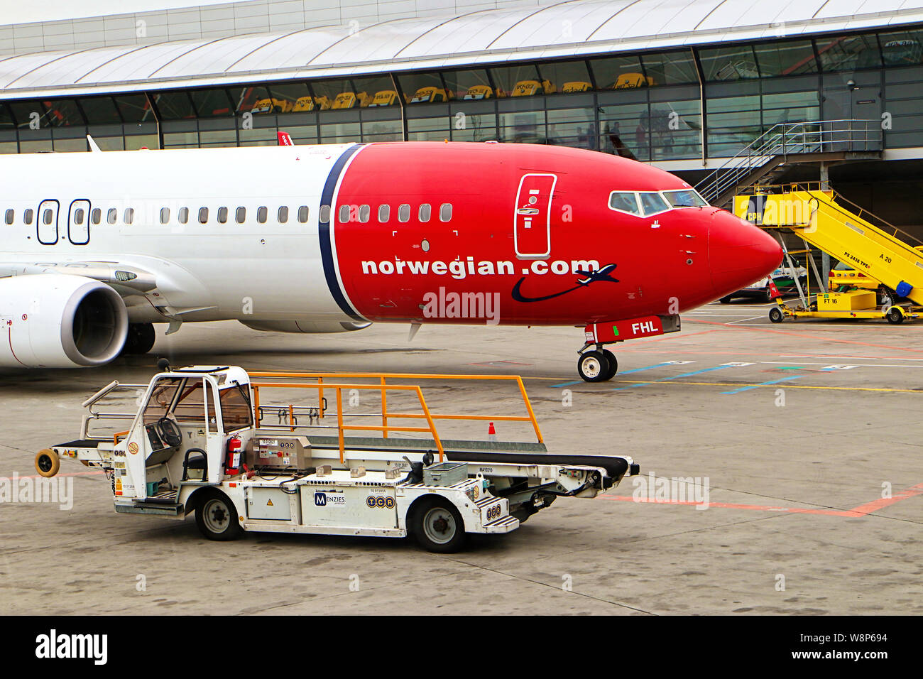 Copenhague, Danemark - 16 juin 2019 l'aéroport international de Copenhague: un avion de la Norwegian AirLines vient d'arriver Banque D'Images
