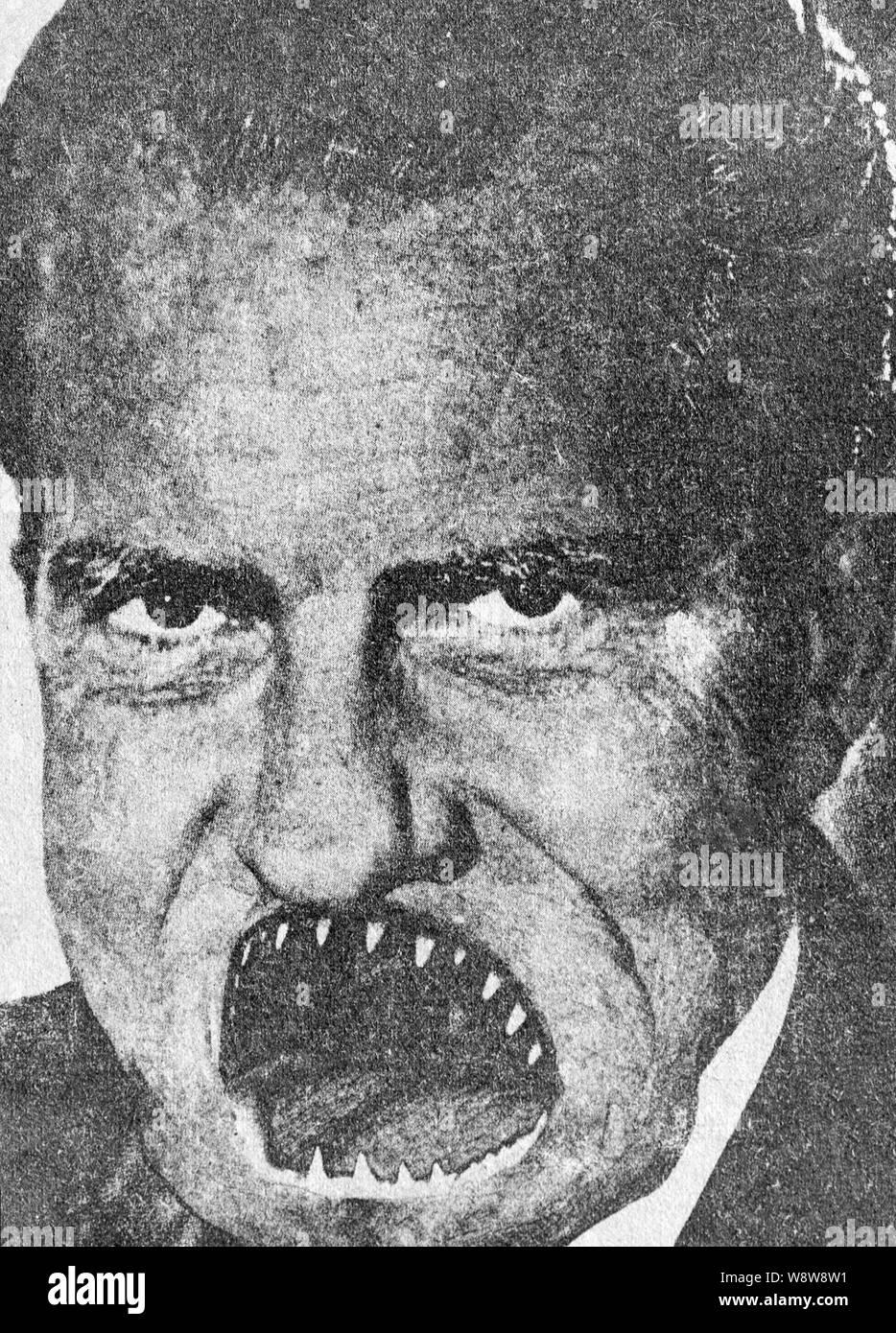 Une des années 70, les étudiants pour une société démocratique SDS modifié photo du président Richard Nixon publié dans un journal du collège. Banque D'Images