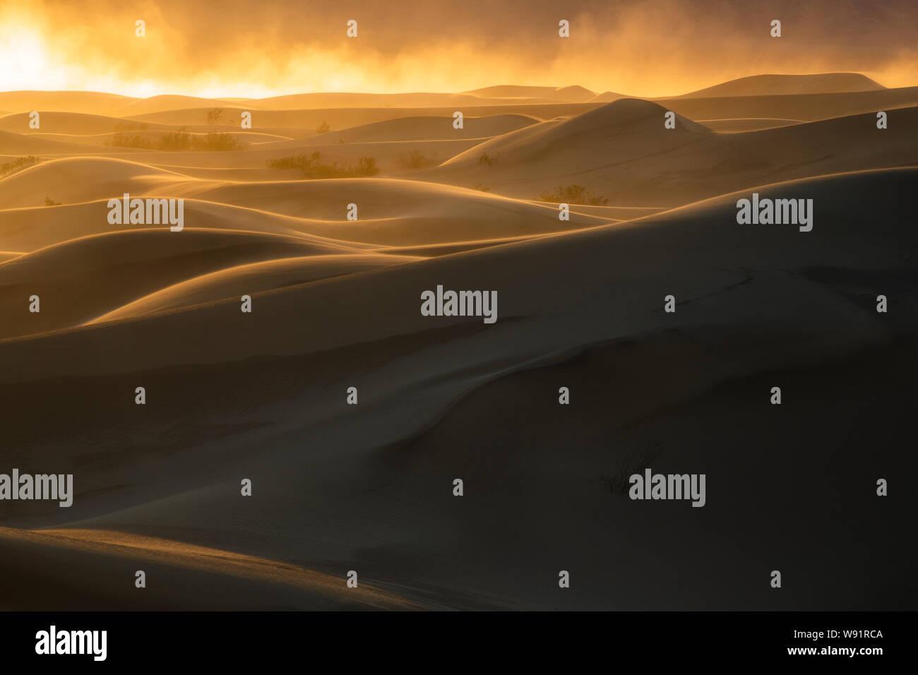 Tempête de sable au coucher du soleil, Mesquite Dunes, Death Valley National Park, Californie Banque D'Images