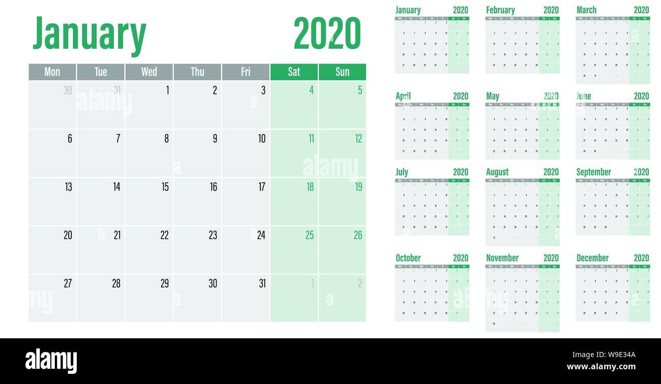 Calendrier 2020 Semaine.Planificateur De Calendrier 2020 Illustration Vecteur Modele