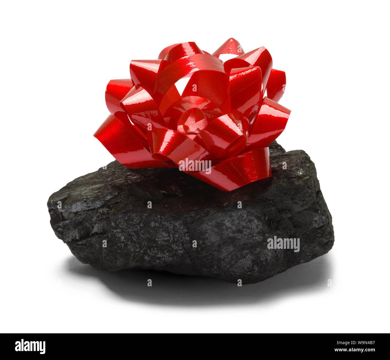 Le charbon avec arc rouge isolé sur fond blanc. Banque D'Images
