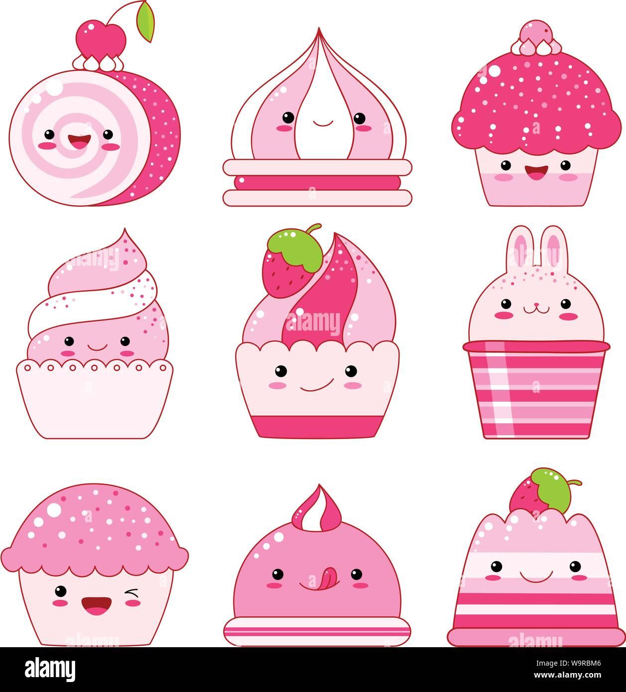 Vector set de vanille, de bleuet, de cassis, gelée de fraises, de la crème glacée, les guimauves, cupcake avec berry. Dans le style kawaii avec des visages souriants, rose che Illustration de Vecteur