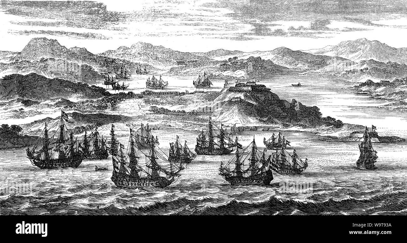 Départ de la Flotte au Trésor espagnol aux Antilles à travers l'océan Atlantique Banque D'Images