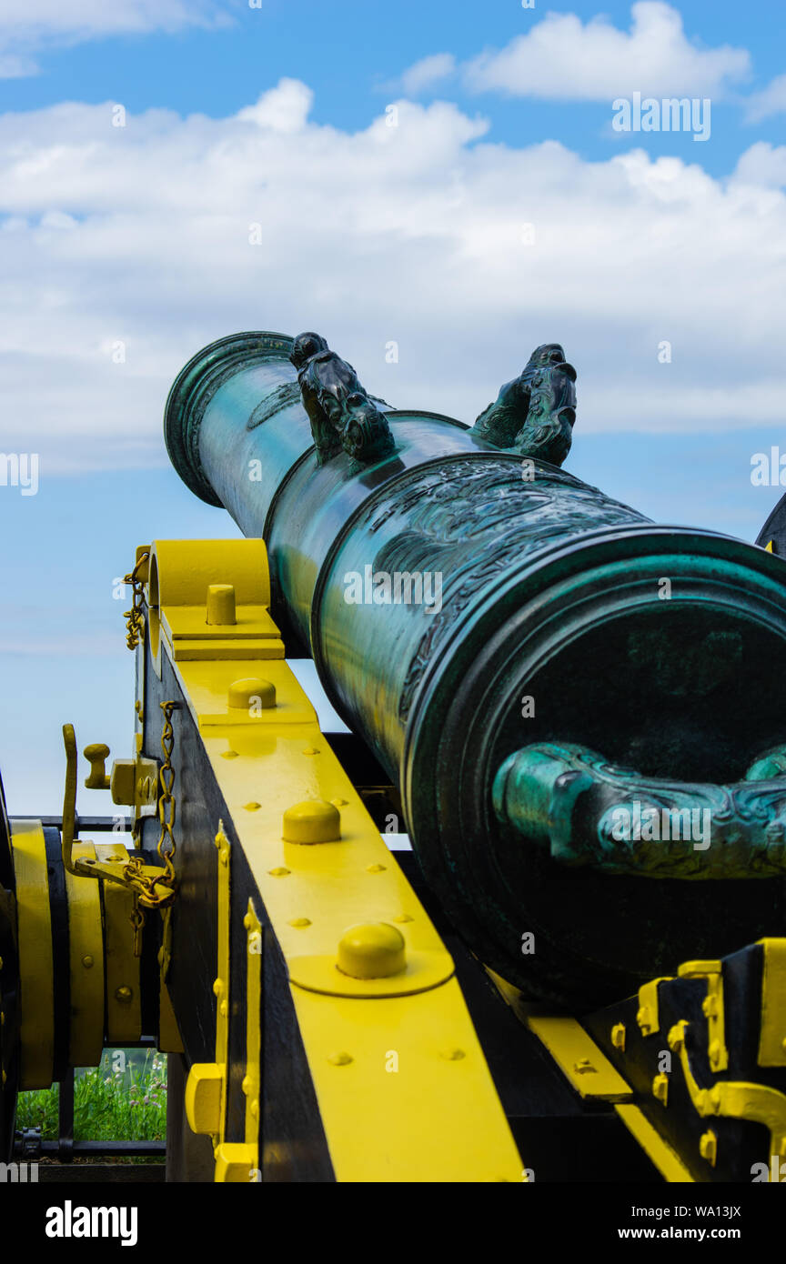 Détail de la défense Cannon à la forteresse de Königstein Banque D'Images