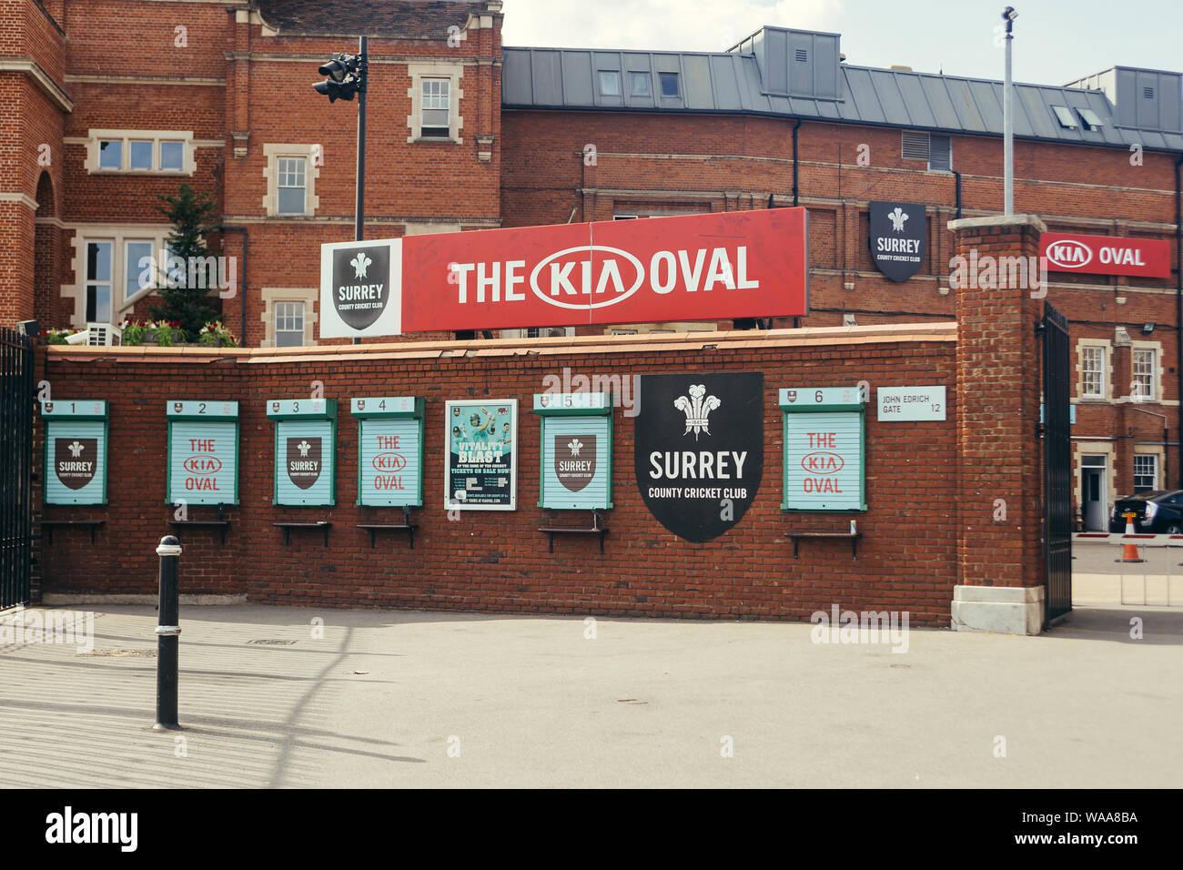 London / UK - Juillet 16, 2019: l'ovale, international cricket ground à Kennington dans le sud de Londres. Il a été le terrain du comté de Surrey Cricke Banque D'Images