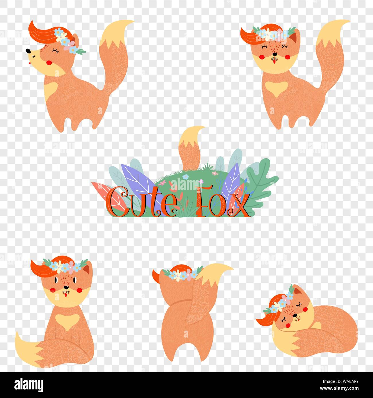 Cute Fox Set Isole Sur Fond Transparent Kawaii Funny Baby Renards