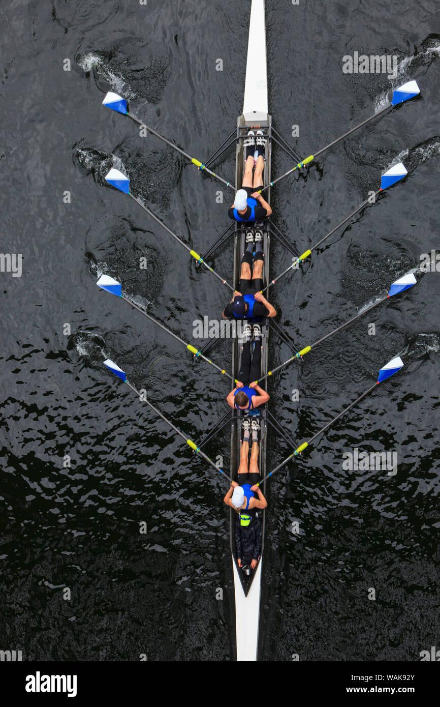 Journée d'ouverture de la fête nautique, Seattle, Washington State, USA. Vue supérieure de l'aviron. Banque D'Images