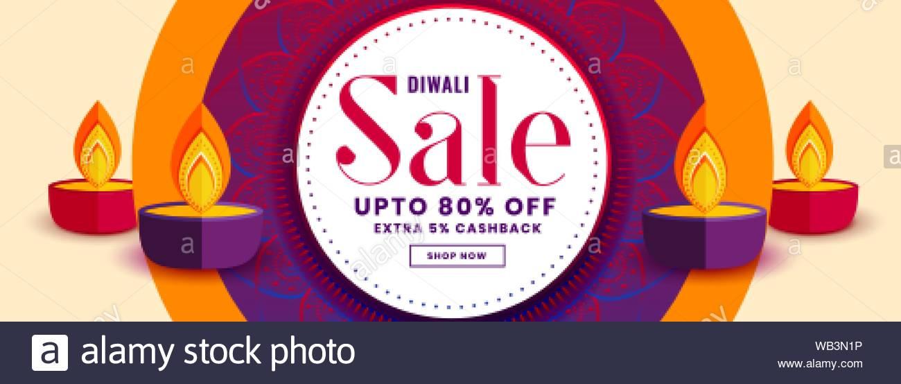 Happy diwali vente bannière avec une décoration colorée diya Illustration de Vecteur