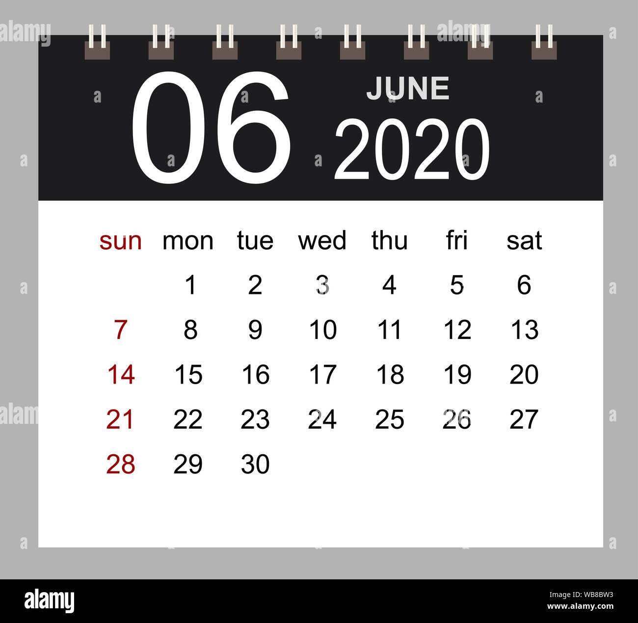 Calendrier Juin 2020.Calendrier 2020 D Affaires De Juin Page Isolee De L