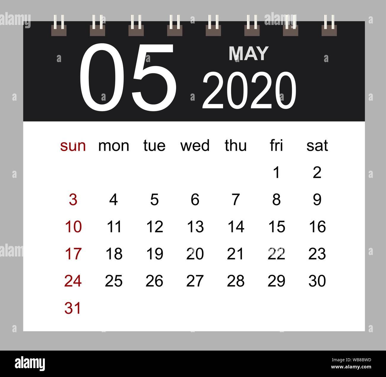 Page Calendrier.Calendrier D Entreprise 2020 De Mai Page Isolee De L