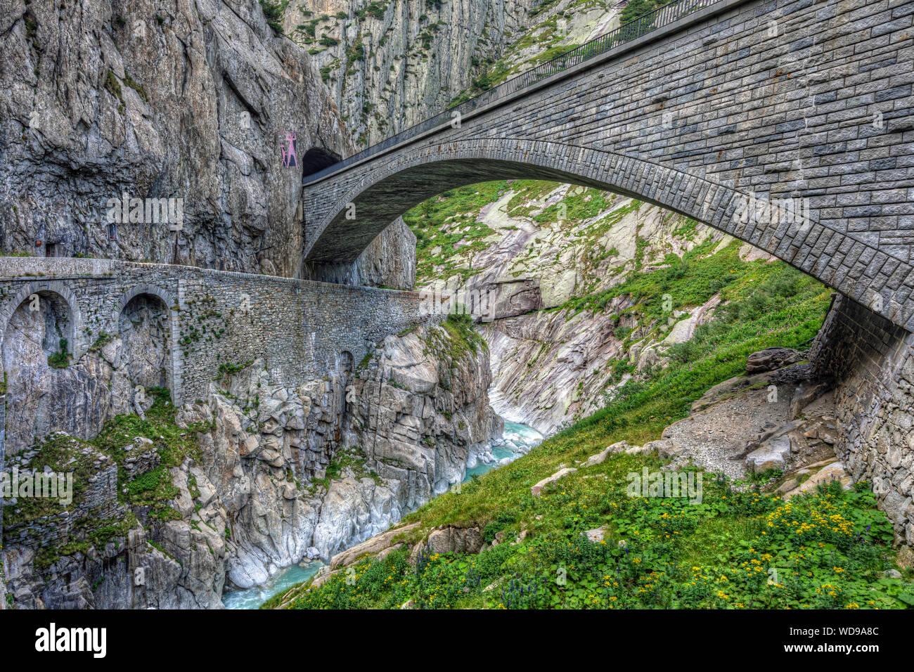 Pont du Diable, Andermatt, Uri, Suisse, Europe Banque D'Images
