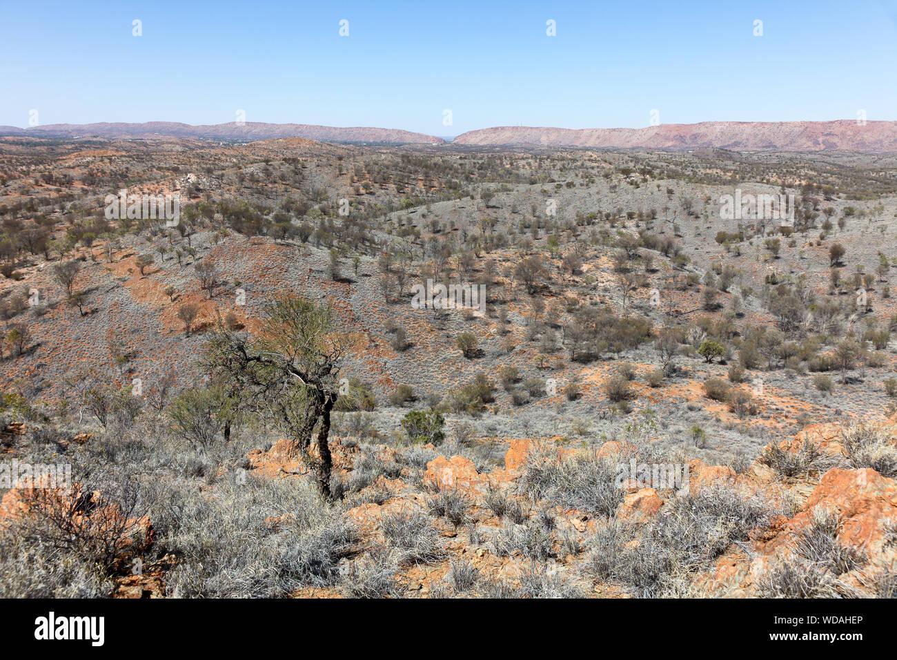 Vue depuis la crête de l'Euro, Larapinta Trail, West McDonnell Ranges, Territoire du Nord, Australie Banque D'Images