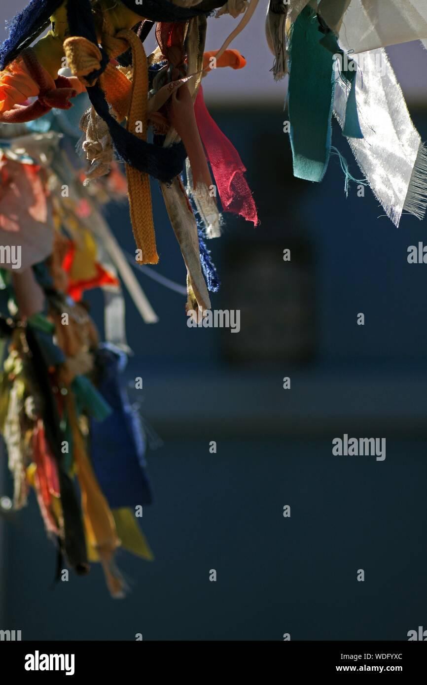 Attaché des rubans colorés sur l'arbre des désirs Banque D'Images