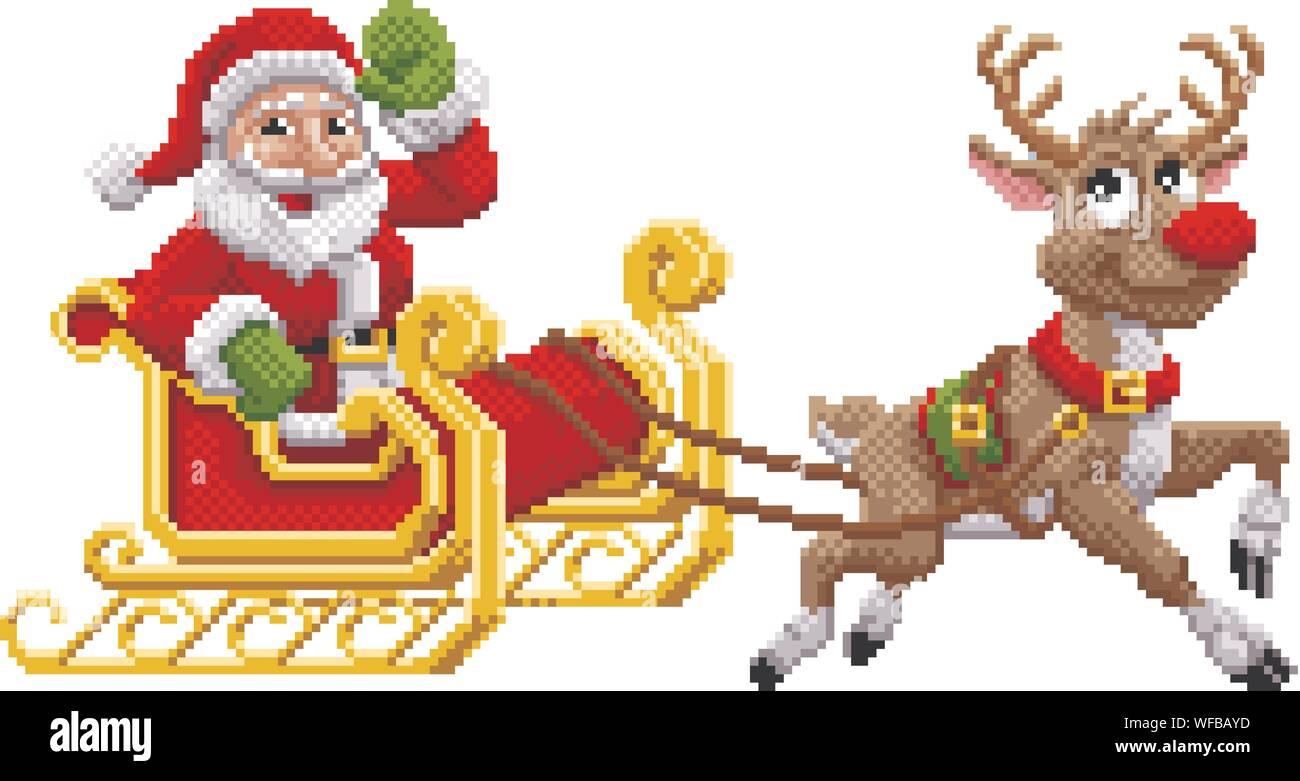 Santa Claus Noël Traîneau De Rennes Pixel Art Vecteurs Et