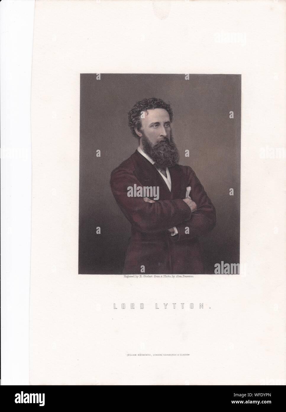 La plaque d'impression de livre / 'Lord Lytton'. Robert Bulwer-Lytton, 1er comte de Lytton. D'État anglais, homme politique conservateur, et poète. Vice-roi de l'Inde Banque D'Images