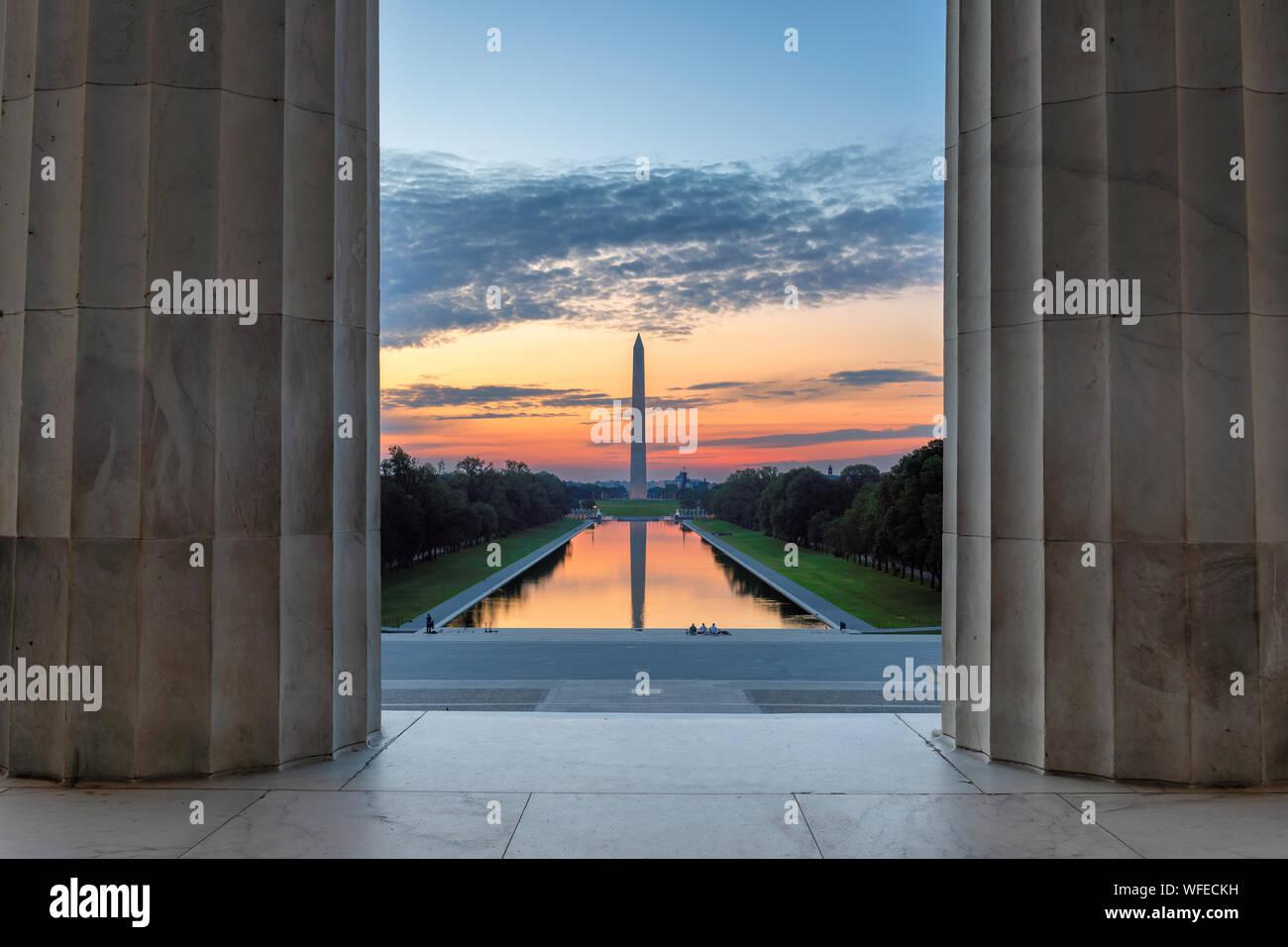 Lincoln Memorial au lever du soleil à Washington, DC Banque D'Images
