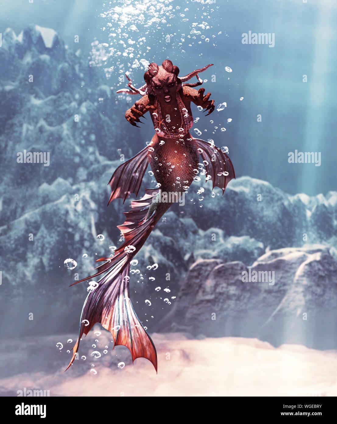 Fantasy 3d Horreur De Sirene En Mer Mythique Fantasy Fairy