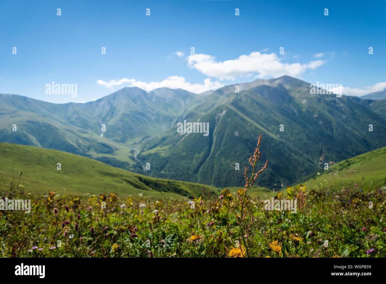 Paysage avec des montagnes de Svaneti sur le trekking et randonnées à vélo près de Mestia village dans la région de Svaneti, Georgia. Banque D'Images