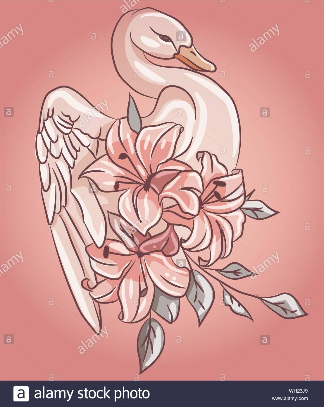 Swan Rose Fabuleux Avec Lily Rose Floral Fleurs Autour De L
