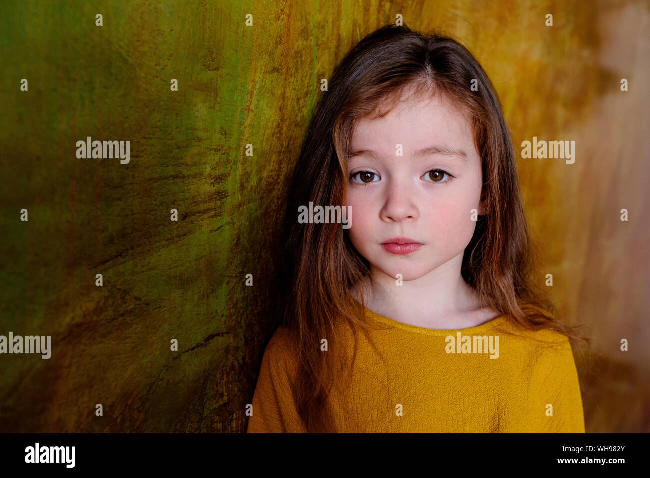 Portrait de petite fille aux longs cheveux bruns Banque D'Images