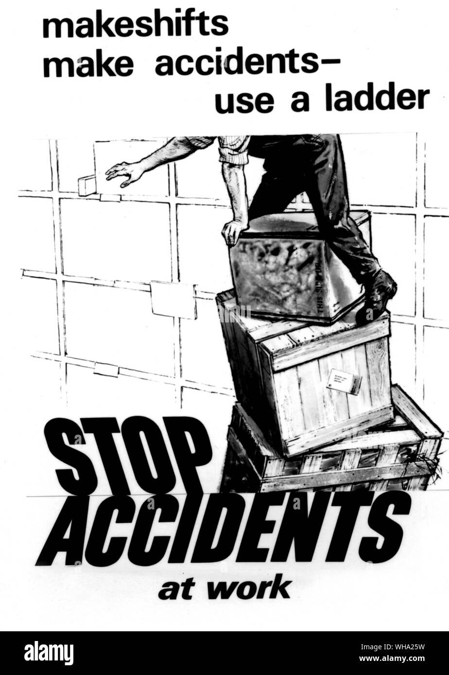 WW2: empêcher les accidents poster pour le milieu de travail. Banque D'Images