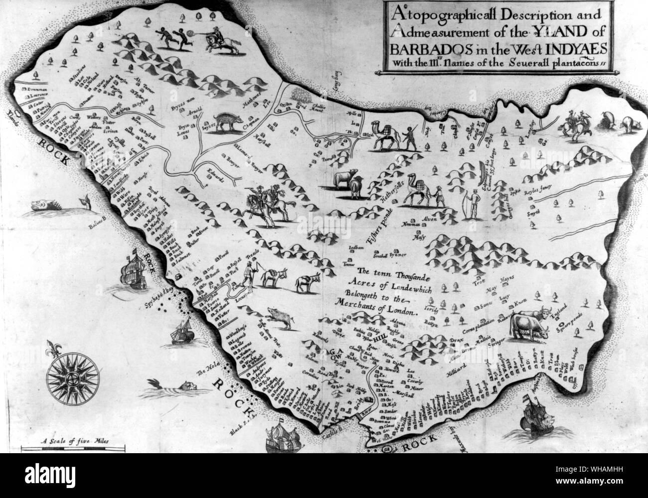 Carte de la Barbade dans les Antilles Banque D'Images
