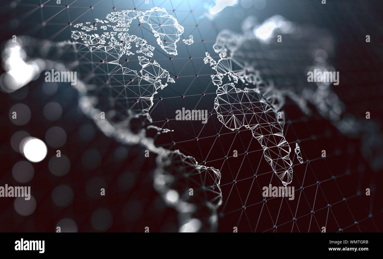 Logistique et expéditions internationales. Communication d'entreprise dans le monde entier. Gestion des Big Data.Illustration 3d.concept de carte du monde et de réseau Banque D'Images