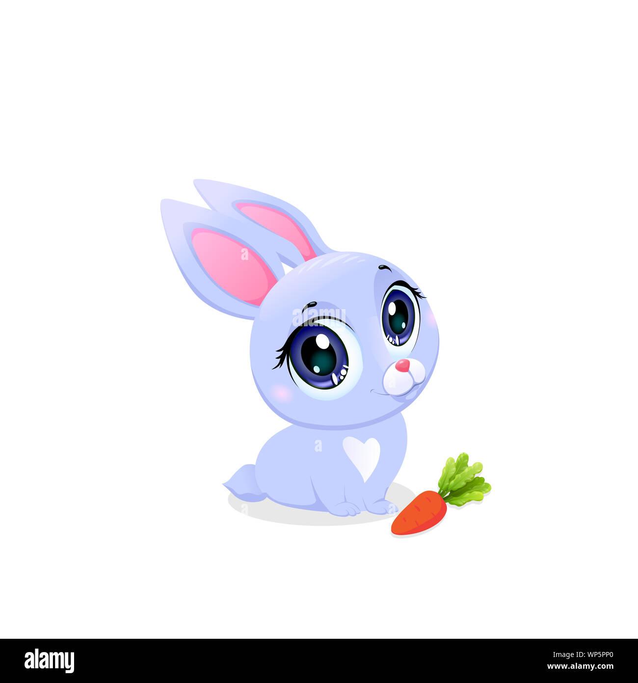 Cute Bunny à la carotte isolé sur fond blanc. Petit bébé Lapin Kawaii avec de grands yeux l'élément de design pour bébé douche Carte de Vœux. Funny Fores Banque D'Images
