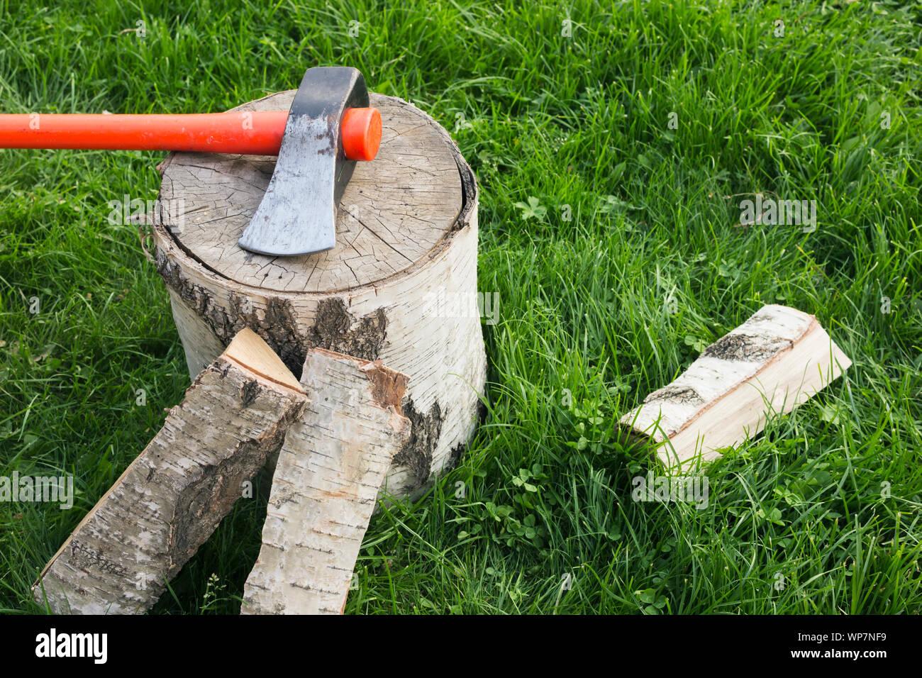Fendre avec une hache et le fractionnement du bois de chauffage sur l'herbe. Grumes de bouleau Banque D'Images