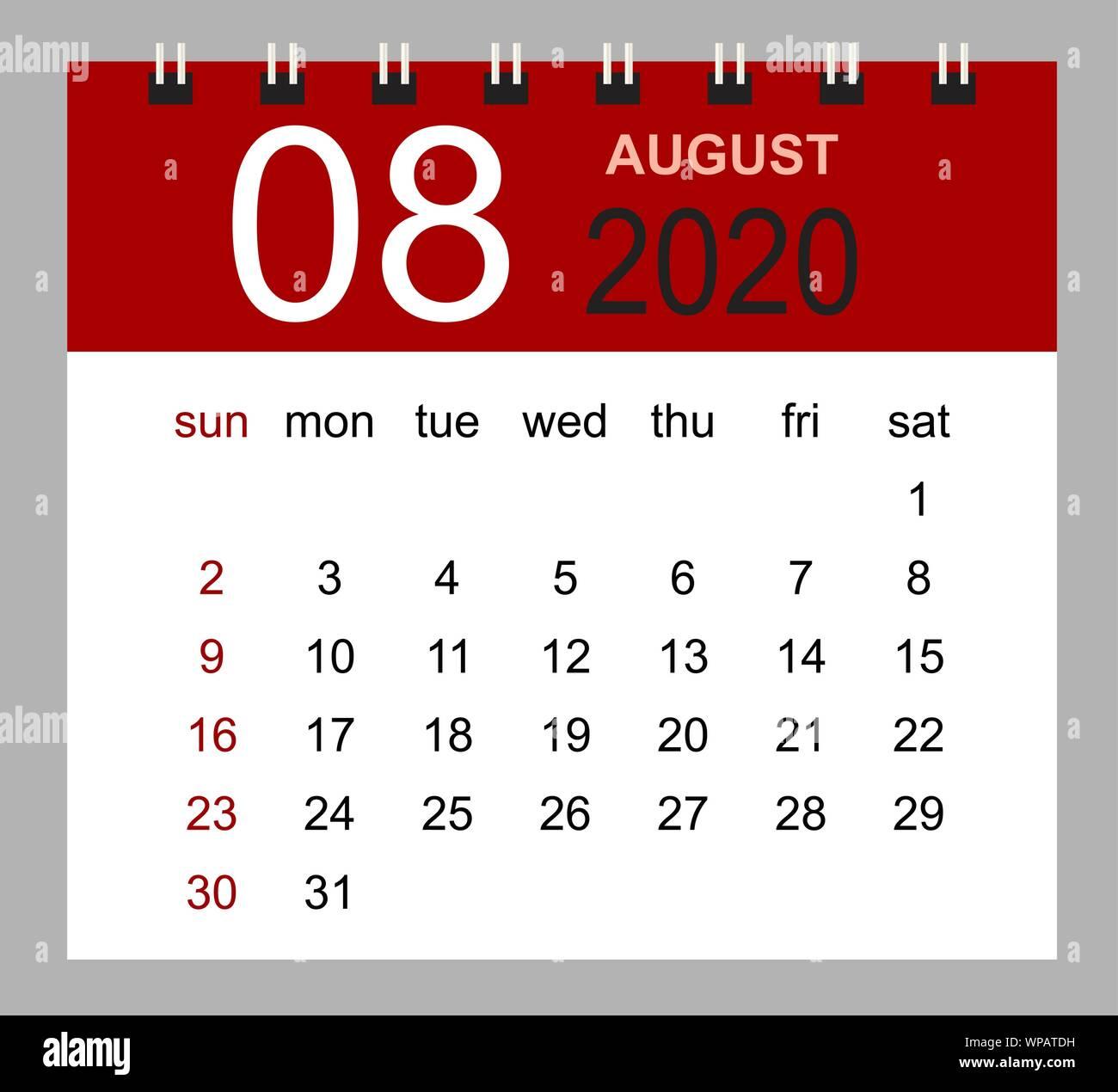 Calendrier Aout 2020.Calendrier De Bureau Simple Pour Aout 2020 Semaine Commence