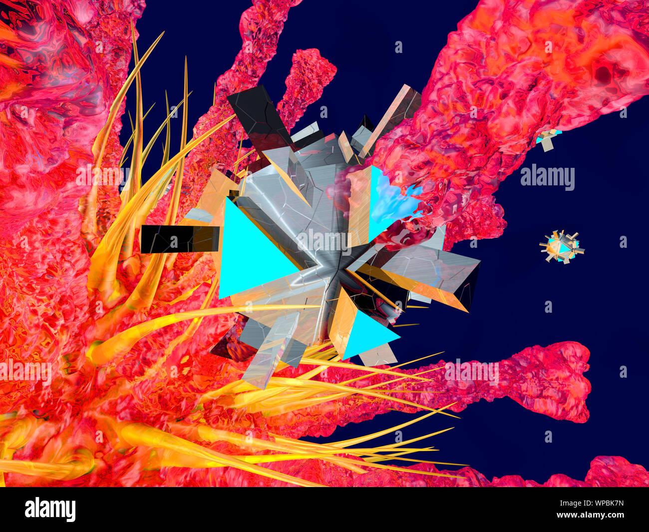 Rendu 3D Illustration d'un Nano une attaque de virus dans le corps humain. Banque D'Images
