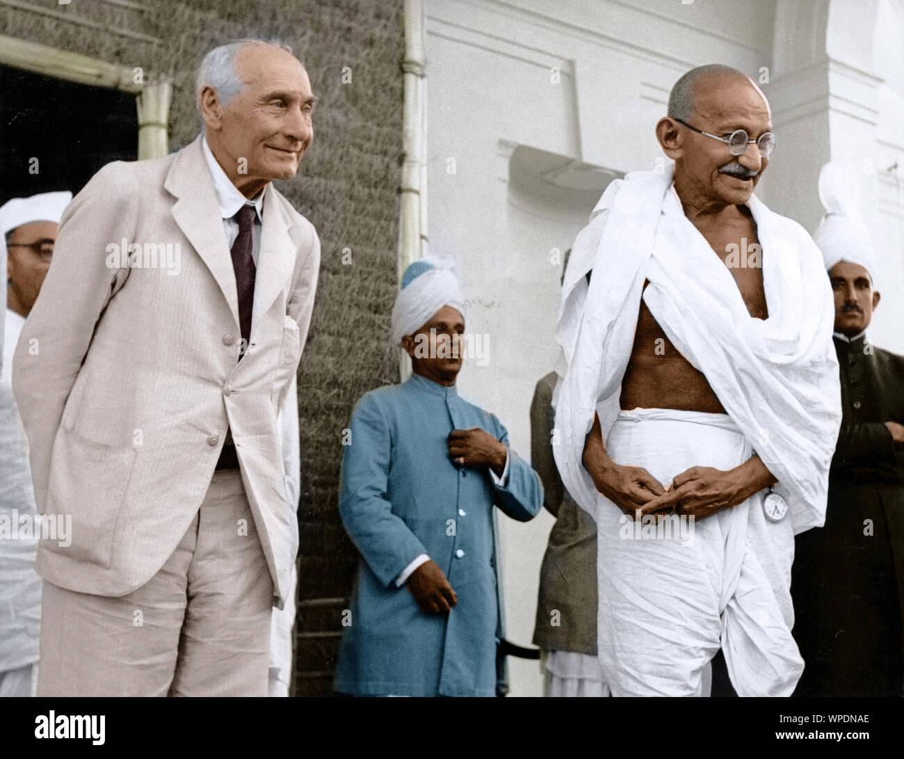 Mahatma Gandhi avec Lord Pethick Lawrence, Delhi, Inde, Asie, Mai, 1946 Banque D'Images