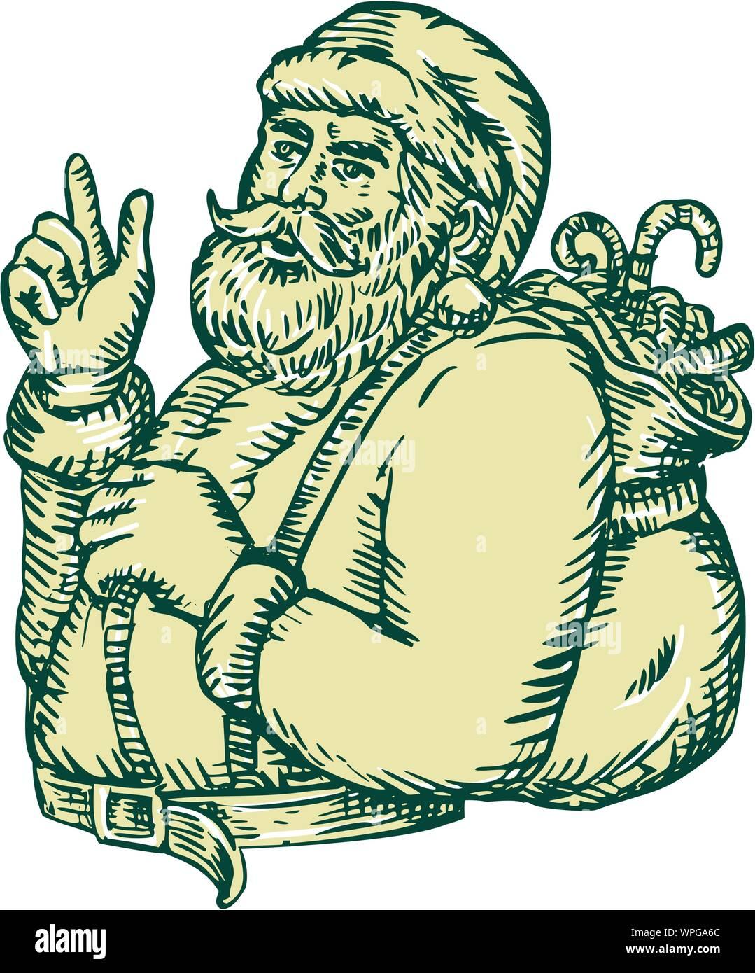 Père Noël en soulignant la gravure latérale Illustration de Vecteur
