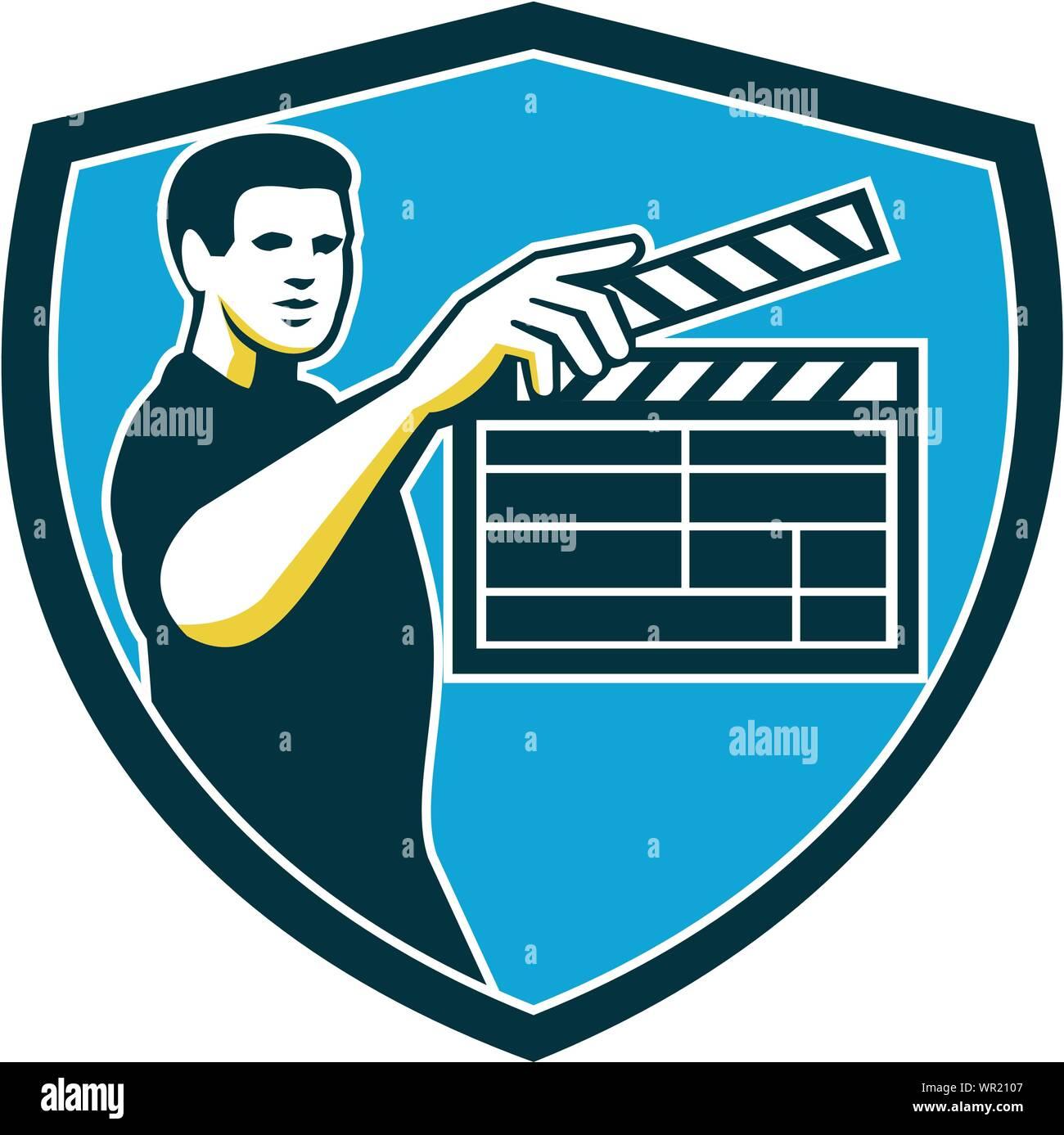 Clap de tournage rétro Protection Illustration de Vecteur