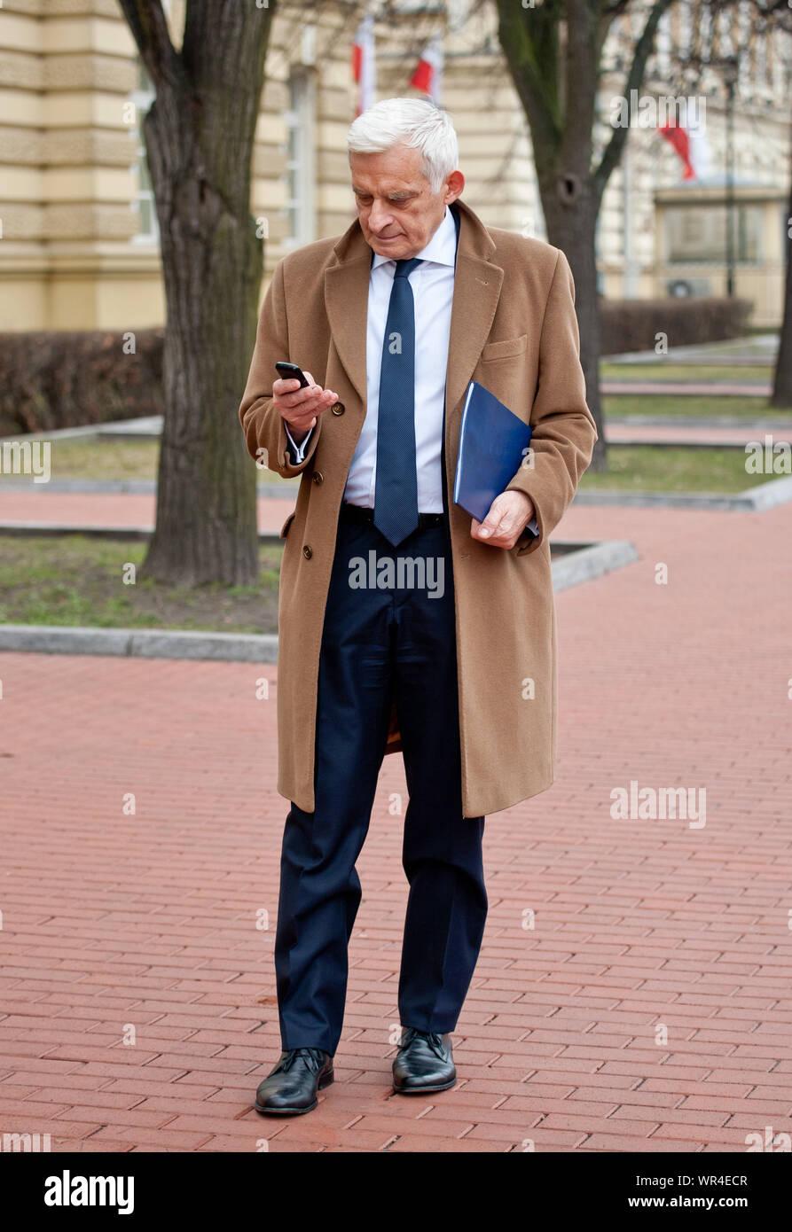 02. 03. 2014 Varsovie, Pologne. Sur la photo: Jerzy Buzek Banque D'Images