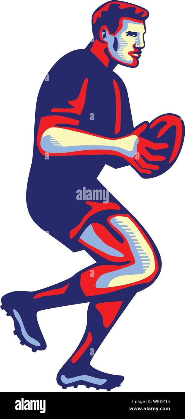 Rugby player tournant passant Ball Retro Illustration de Vecteur