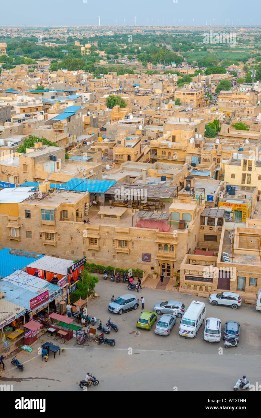 Vue aérienne de Jaisalmer, la Ville Dorée du Rajasthan Banque D'Images